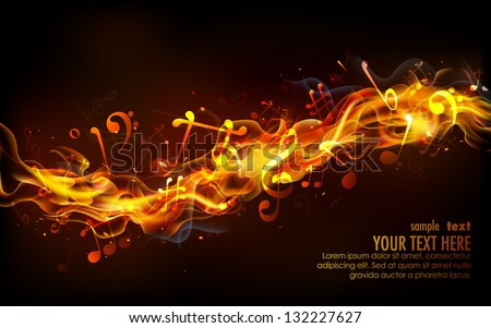 illustration of musical notes coming out of fire flame - stock vector