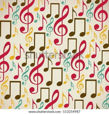 Illustration of  musical notes pattern, music, sound, vector illustration - stock vector