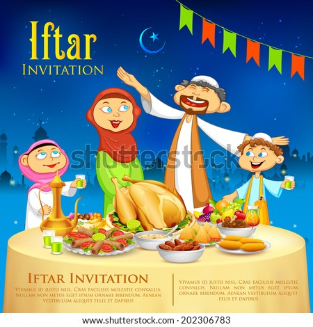 illustration of muslim family celebrating Eid in Iftar party - stock vector