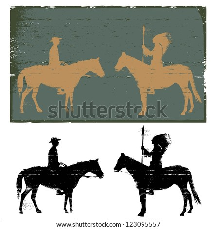 Illustration of native american indian and cowboy riding horse silhouette, vector - stock vector