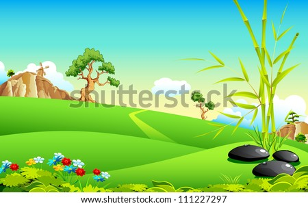 illustration of natural landscape with bamboo tree - stock vector
