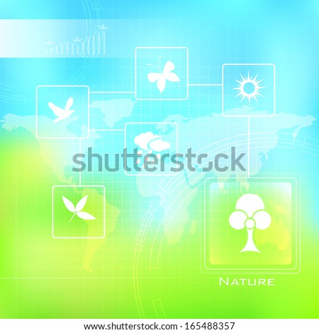 illustration of Nature Background with sign and symbol - stock vector