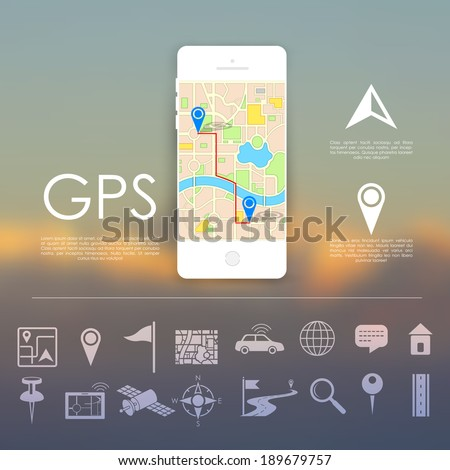 illustration of navigation icon set for GPS application - stock vector