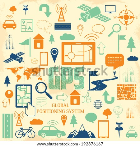illustration of navigation icon set for GPS application - stock vector