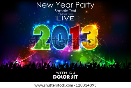 illustration of New Year celebration with crowd for 2013 - stock vector