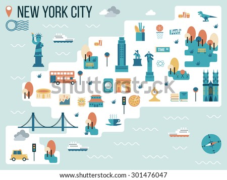 Illustration of New York City Map Infographic Elements - stock vector
