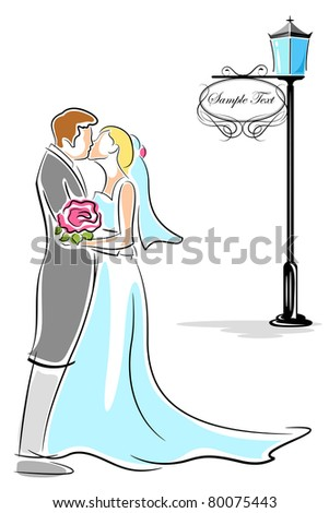 illustration of newly wed couple kissing each other - stock vector