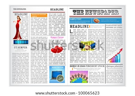 illustration of newspaper with different news on white background - stock vector