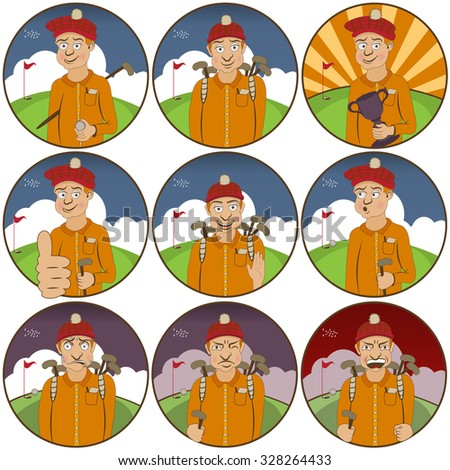 illustration of nine different golfer  funny stickers - face expressions. - stock vector
