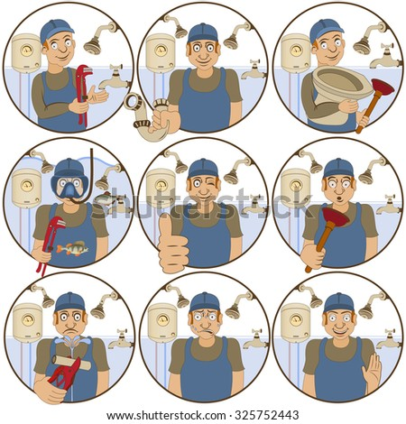 illustration of nine different plumber funny stickers - face expressions. - stock vector