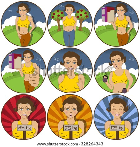 Illustration of nine different Young female  funny stickers - face expressions. - stock vector