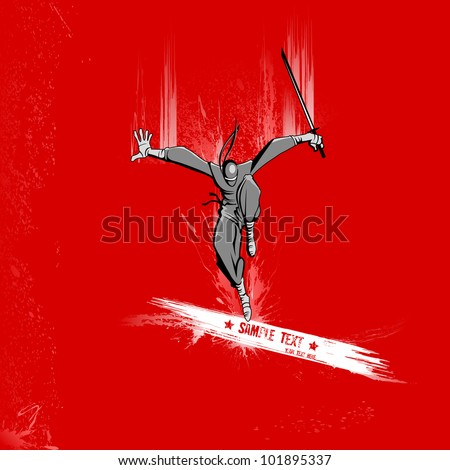 illustration of ninja fighter attacking with sword on grungy background - stock vector