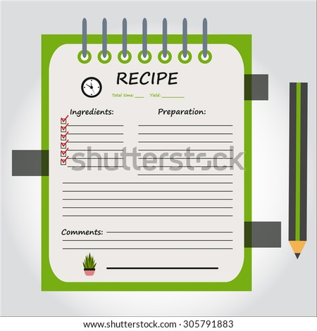 Illustration of notebook, copybook, book for recipes, web icon, vector. - stock vector