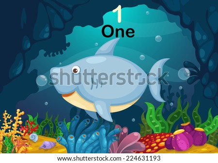 Illustration of number one shark under the sea vector - stock vector