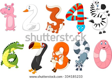 Illustration of number with a concept africa animals - stock vector