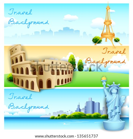 illustration of of travel banner with world famous monument - stock vector