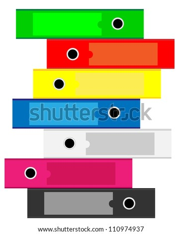 Illustration of Office folders for documents stacked vertically on a white background - stock vector