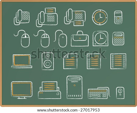 Illustration of Office icon set drawing on chalkboard. - stock vector