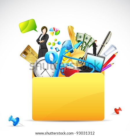 illustration of office stationery with business woman in folder - stock vector