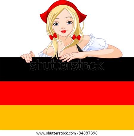 Illustration of Oktoberfest  Germany girl over Deutsch flag sign - stock vector