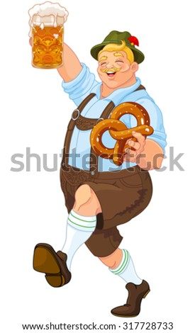 Illustration of Oktoberfest guy celebrating - stock vector