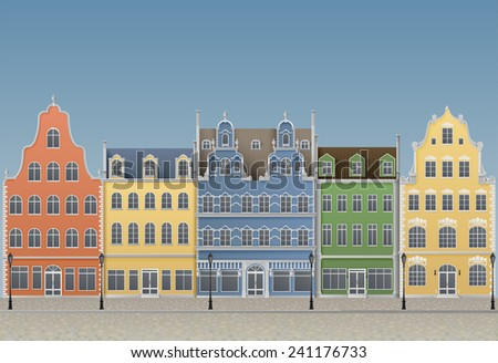 Illustration of old european town, EPS 10, contains transparency. - stock vector