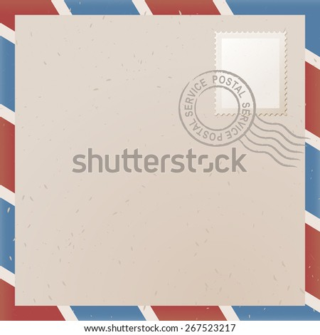 illustration of old letter with stamp - stock vector