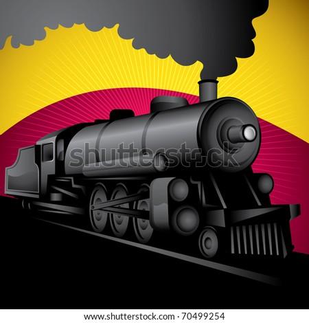 Illustration of old stylized locomotive. Vector illustration. - stock vector