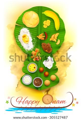 illustration of Onam feast on kathakali dancer shaped banana leaf - stock vector