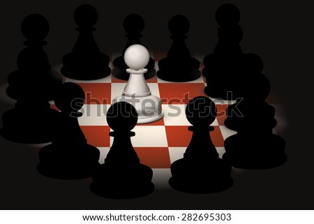 illustration of one white pawn and group of black pawns around - stock vector