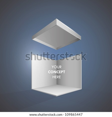 Illustration of open box. Vector design isolated on blue background. - stock vector