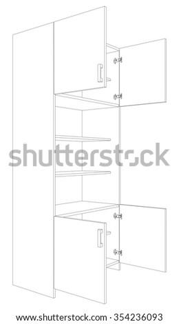 Illustration of open cabinet on white background, vector illustration - stock vector