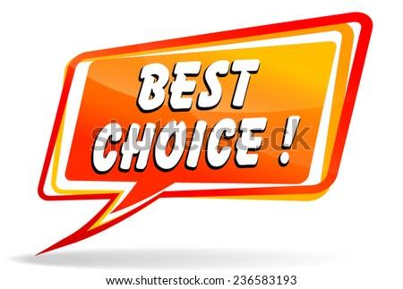 illustration of orange design speech for best choice - stock vector