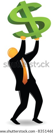 Illustration of orange head lifting dollar sign - stock vector
