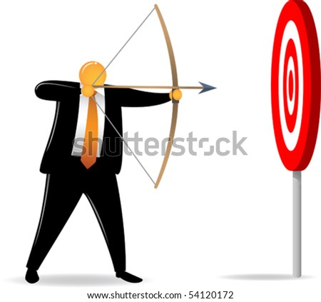Illustration of Orange Head man shooting easy big target - stock vector