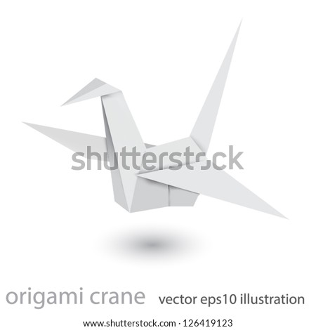 Illustration of origami crane isolated on white background. Mesh technique - stock vector