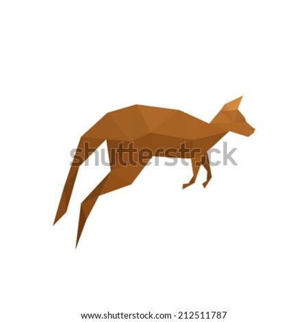 Illustration of origami kangaroo isolated on white background - stock vector