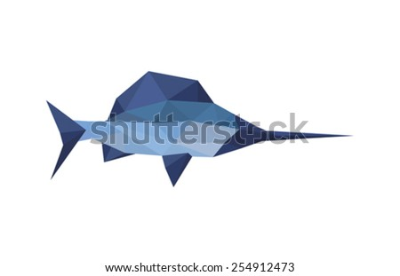 Illustration of origami sword fish isolated on white background - stock vector