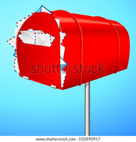 illustration of over loaded mail box showing spam mail - stock vector