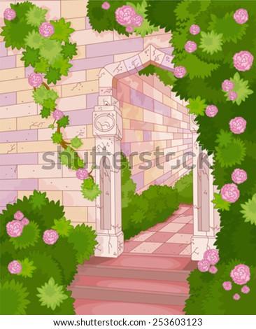 Illustration of overgrown stone house - stock vector