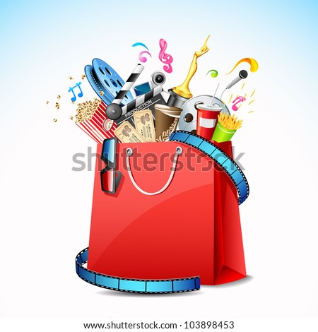 illustration of package of movie with cinema object in shopping bag - stock vector