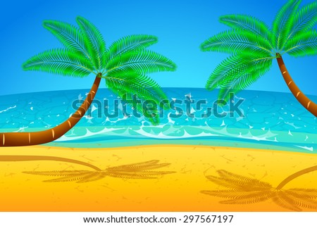 illustration of palm trees on the beach with the sea - stock vector