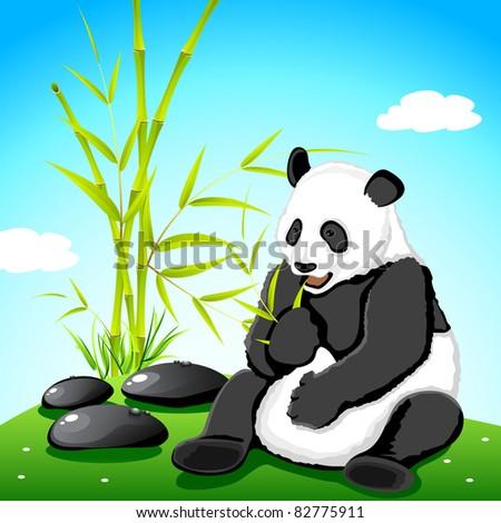 illustration of panda eating bamboo in jungle - stock vector
