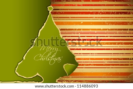 illustration of paper Christmas tree with stripped background - stock vector