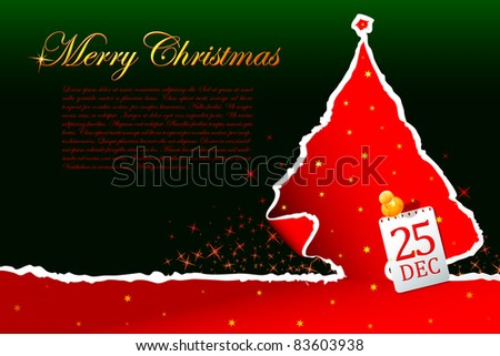 illustration of paper cut christmas tree with star - stock vector
