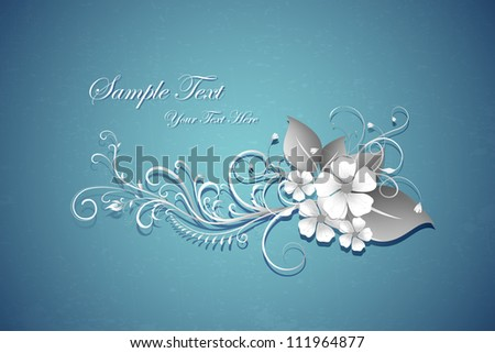 illustration of paper cut retro floral background - stock vector