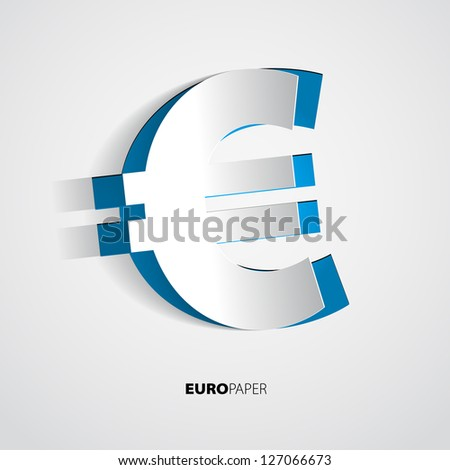 Illustration of paper euro symbol - vector - stock vector