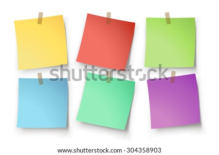 illustration of paper lists set with different color and shadow - stock vector