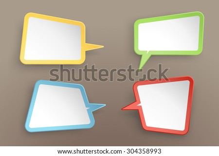 illustration of paper lists set with different shapes and color - stock vector
