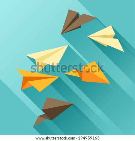 Illustration of paper planes in flat design style. - stock vector